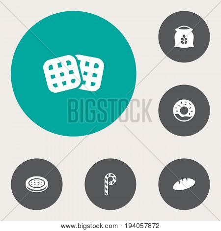 Set Of 6 Bakery Icons Set.Collection Of Loaf, Cake, Sack And Other Elements.