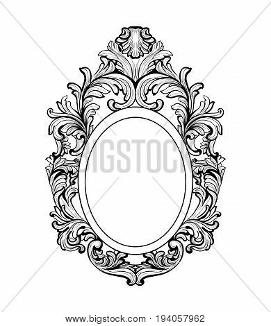 Rich Baroque Mirror frame. Vector French Luxury rich intricate ornaments. Victorian Royal Style decors