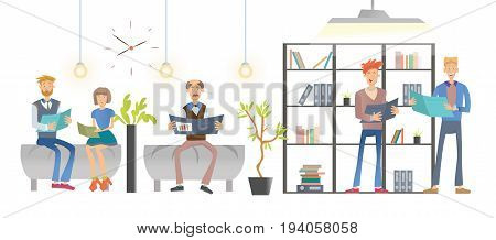 People reading documents or books in the office or library, shelving with folders and books. Vector illustration, isolated on white background.