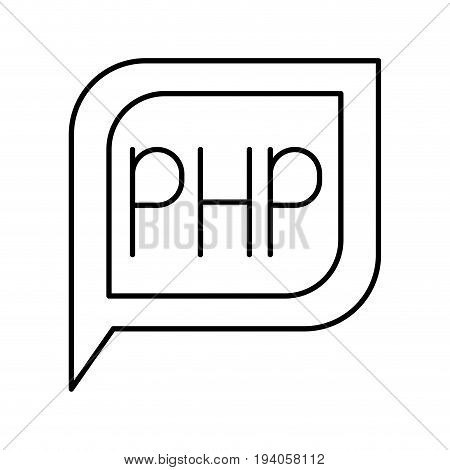 monochrome silhouette dialogue square with tail with php symbol vector illustration
