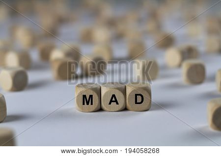 Mad - Cube With Letters, Sign With Wooden Cubes