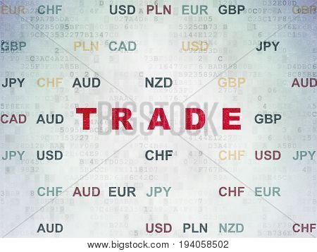Business concept: Painted red text Trade on Digital Data Paper background with Currency