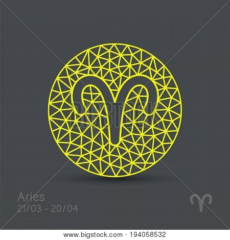 Aries zodiac sign in circular frame, vector Illustration. Contour icon.