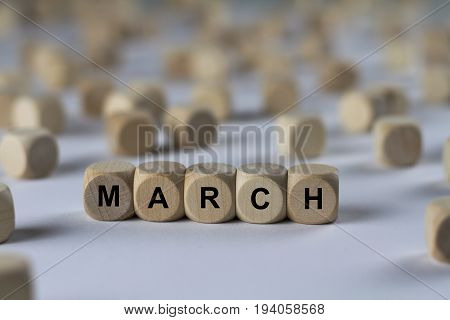 March - Cube With Letters, Sign With Wooden Cubes
