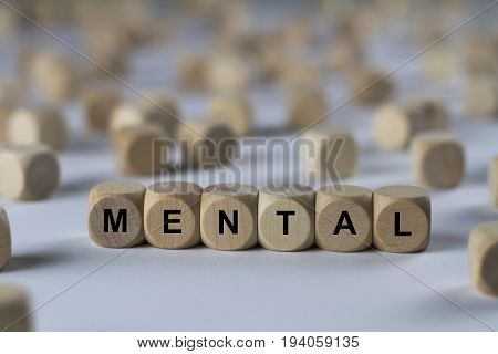 Mental - Cube With Letters, Sign With Wooden Cubes