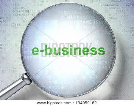 Business concept: magnifying optical glass with words E-business on digital background, 3D rendering