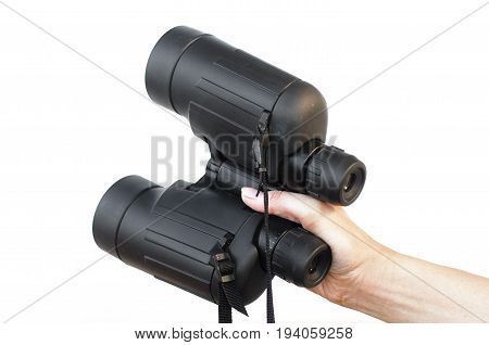 Binoculars isolated. Binoculars in hand. Find, look and search.