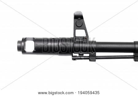 Gun assault rifle isolated. Automatic weapon gun isolated on white background.