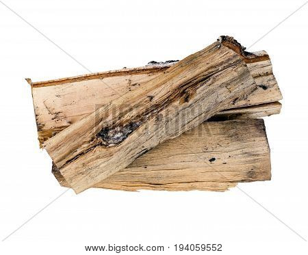 Firewood isolated. Birch firewood isolated on white background.