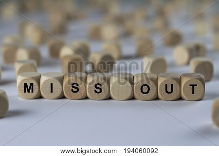 Miss Out - Cube With Letters, Sign With Wooden Cubes