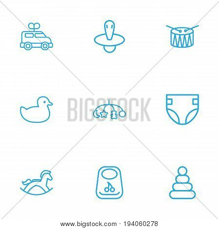 Set Of 9 Child Outline Icons Set.Collection Of Rocking Horse, Bib, Clockwork Car And Other Elements.