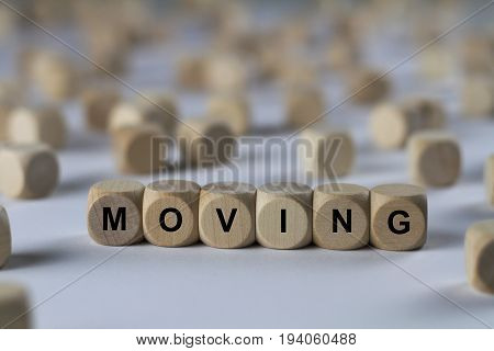 Moving - Cube With Letters, Sign With Wooden Cubes