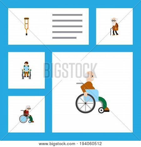 Flat Icon Handicapped Set Of Handicapped Man, Ancestor, Wheelchair Vector Objects. Also Includes Stand, Ancestor, Crutch Elements.
