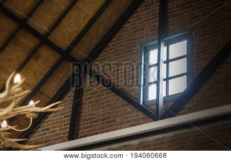 Roof and window of cabin stock photo