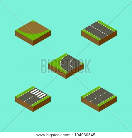 Isometric Road Set Of Footer, Driveway, Way And Other Vector Objects. Also Includes Asphalt, Turn, Flat Elements.
