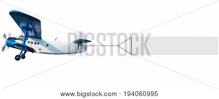 biplane with a white banner against a white background