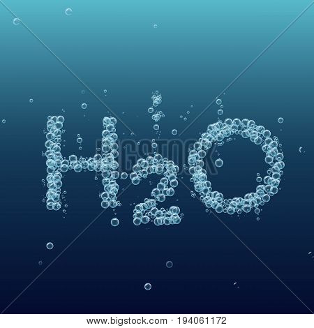 Water bubble background. Vector blue banner or flyer with chemical molecule h2o. Text made with cool bubbles. Shiny realistic foam and waves. Bottled still water, eco lifestyle and healthy motivation.