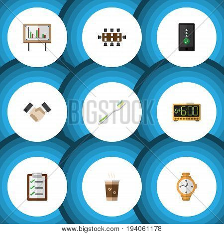 Flat Icon Lifestyle Set Of Whiteboard, Timer, Cellphone And Other Vector Objects. Also Includes Whiteboard, Cellphone, Pasta Elements.