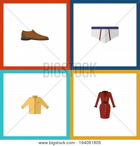 Flat Icon Garment Set Of Banyan, Clothes, Male Footware And Other Vector Objects. Also Includes Man, Clothes, Shoe Elements.