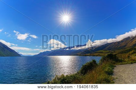 Beautiful backlit of Lake Wakatipu South Island of New Zealand