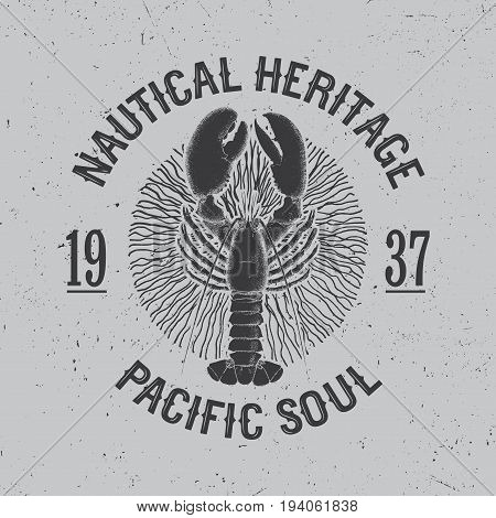 Maritime Design Poster with phrase nautical heritage Pacific Soul vector illustration