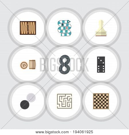 Flat Icon Entertainment Set Of Labyrinth, Bones Game, Pawn And Other Vector Objects. Also Includes Maze, Multiplayer, Games Elements.