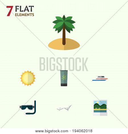 Flat Icon Summer Set Of Boat, Reminders, Sunshine And Other Vector Objects. Also Includes Yacht, Foto, Moisturizer Elements.