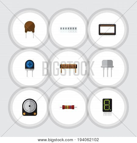 Flat Icon Electronics Set Of Bobbin, Memory, Display And Other Vector Objects. Also Includes Access, Mainframe, Copper Elements.