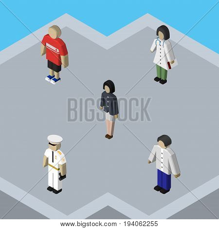 Isometric Person Set Of Guy, Male, Girl And Other Vector Objects. Also Includes Boy, Nurse, Seaman Elements.