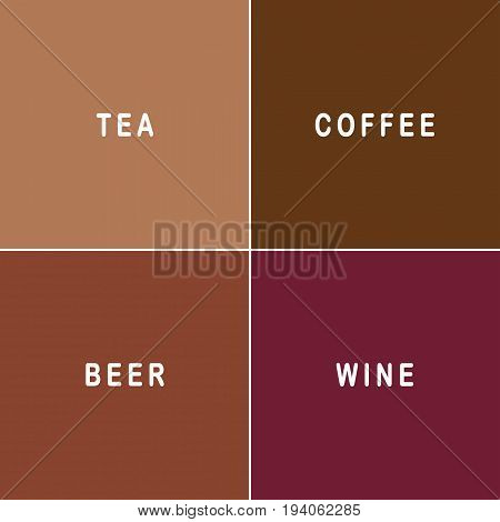 Tea coffee beer and wine text on matching colour backgrounds
