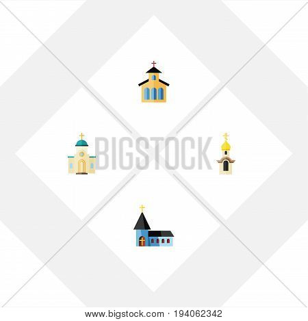 Flat Icon Building Set Of Catholic, Christian, Structure And Other Vector Objects. Also Includes Architecture, Catholic, Traditional Elements.