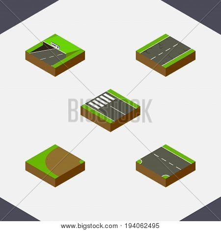 Isometric Way Set Of Subway, Turning, Downward And Other Vector Objects. Also Includes Down, Earthquake, Downward Elements.