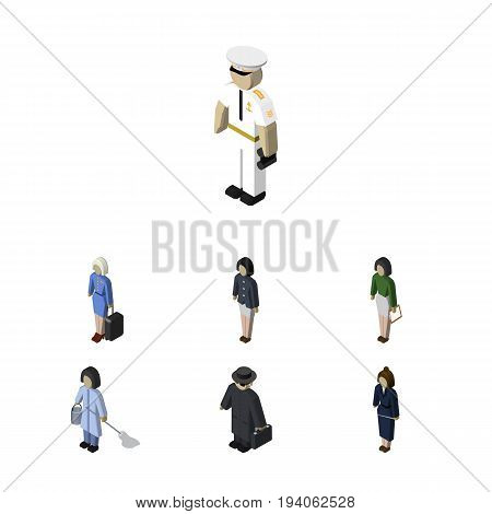 Isometric Person Set Of Pedagogue, Housemaid, Hostess And Other Vector Objects. Also Includes Hostess, Businesswoman, Housemaid Elements.