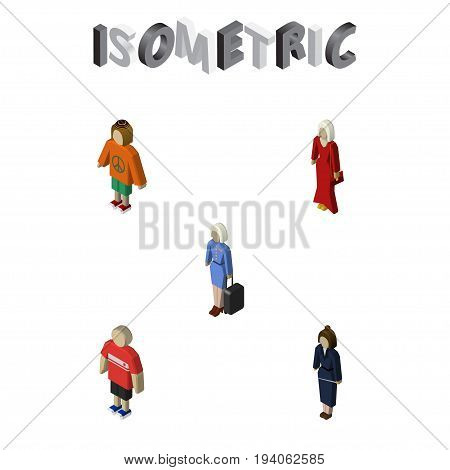 Isometric Person Set Of Businesswoman, Guy, Female And Other Vector Objects. Also Includes Woman, Businesswoman, Female Elements.