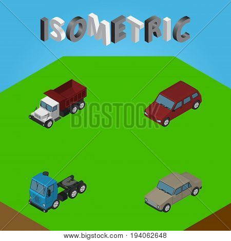 Isometric Car Set Of Freight, Auto, Truck And Other Vector Objects. Also Includes Lorry, Freight, Truck Elements.