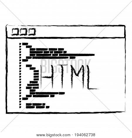 monochrome blurred silhouette of programming window with script code html vector illustration