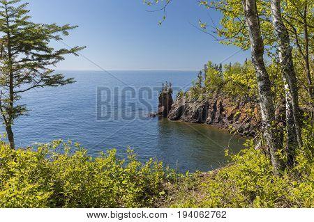 Lake Superior's rocky north shore scenic landscape.