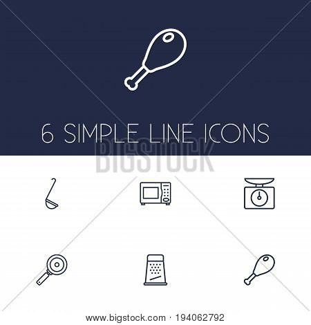 Set Of 6 Culinary Outline Icons Set.Collection Of Skillet, Grater, Chicken Leg And Other Elements.