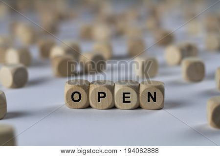 Open - Cube With Letters, Sign With Wooden Cubes
