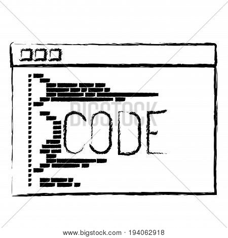 monochrome blurred silhouette of programming window with script of code vector illustration