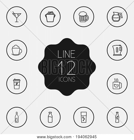 Set Of 12 Beverages Outline Icons Set.Collection Of Ice Bucket, Mug, Soda And Other Elements.