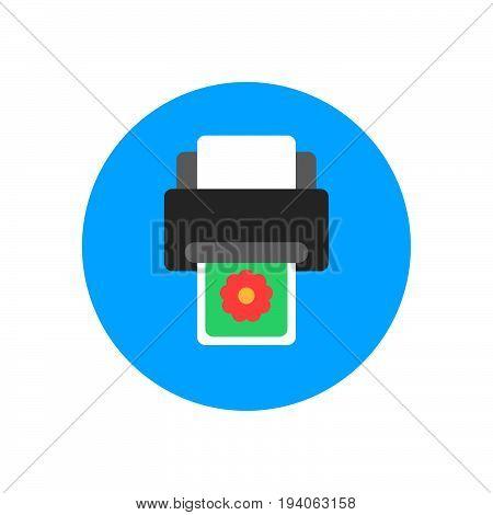 Printer flat icon. Round colorful button circular vector sign logo illustration. Flat style design