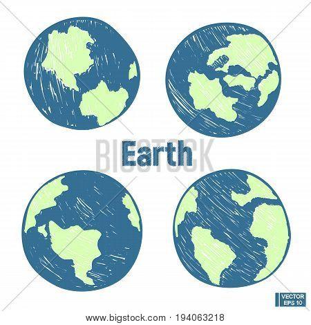 Planet Earth Hand Draw Set