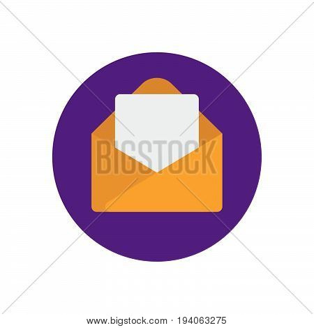 Email message flat icon. Round colorful button Envelope with letter circular vector sign logo illustration. Flat style design