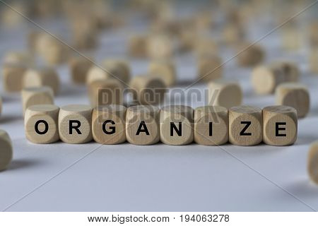 Organize - Cube With Letters, Sign With Wooden Cubes