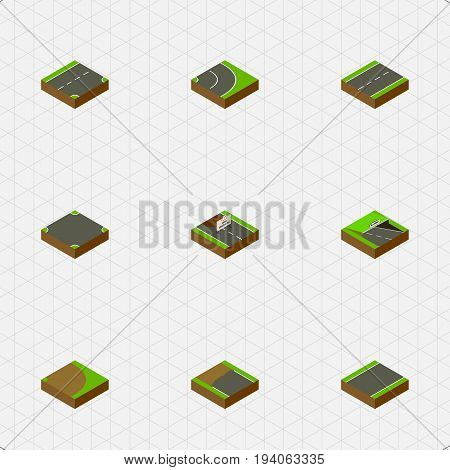 Isometric Way Set Of Incomplete, Driveway, Rotation And Other Vector Objects. Also Includes Road, Lane, Crossroad Elements.
