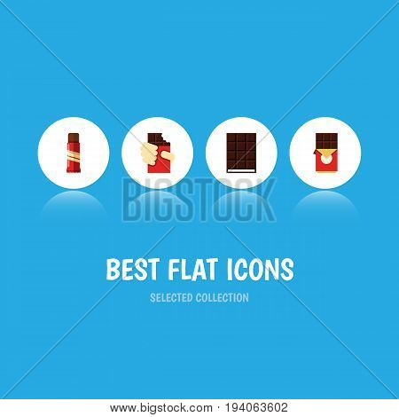 Flat Icon Cacao Set Of Chocolate Bar, Dessert, Shaped Box And Other Vector Objects. Also Includes Chocolate, Dessert, Box Elements.