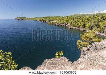 A scenic view of Lake Superior north shore.