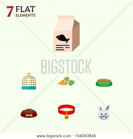 Flat Icon Animal Set Of Bunny, Fish Nutrient, Kitty Collar And Other Vector Objects. Also Includes Cage, Hound, Hare Elements.