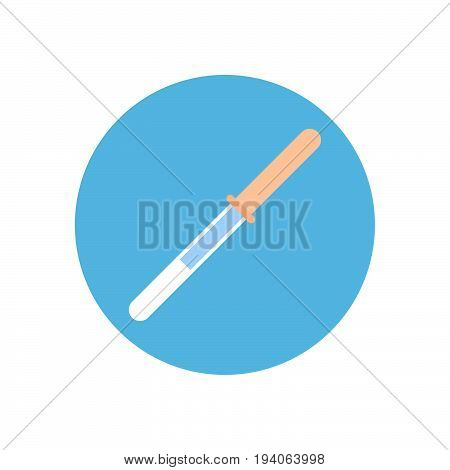 Dropper flat icon. Round colorful button Pipette circular vector sign logo illustration. Flat style design
